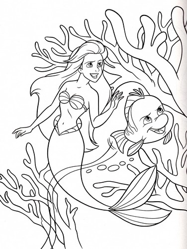 Walt disney Coloring Pages - Princess Ariel & menggelepar