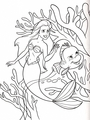Walt ディズニー Coloring Pages - Princess Ariel & ヒラメ