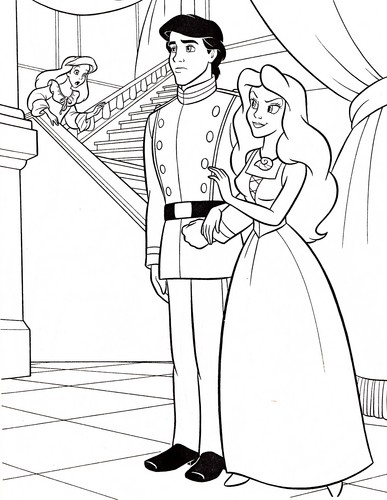 Walt 디즈니 Coloring Pages - Princess Ariel, Prince Eric & Vanessa