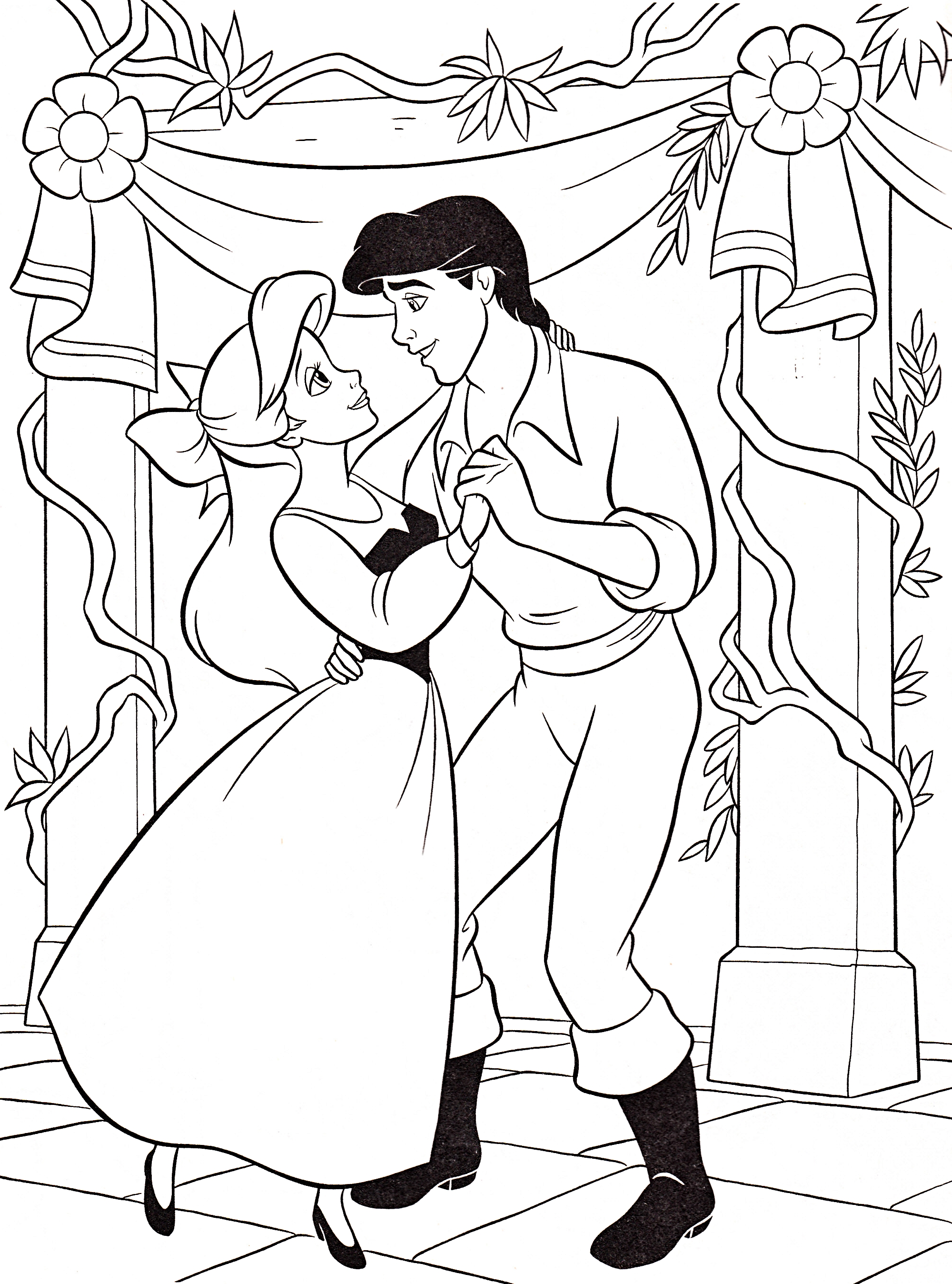 ... Characters Walt Disney Coloring Pages - Princess Ariel & Prince Eric