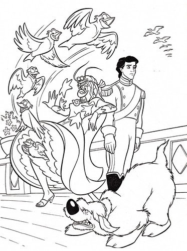 Walt डिज़्नी Coloring Pages - Vanessa, Prince Eric & Max