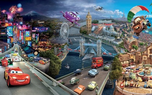 Disney Pixar Cars karatasi la kupamba ukuta possibly containing a business district called cars