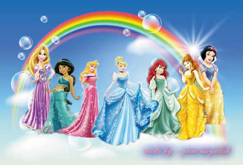 disney princess line up in قوس قزح & clouds