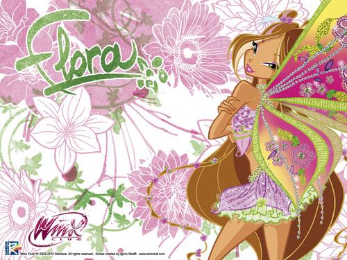 Winx Club Flora kertas dinding entitled flora kertas dinding