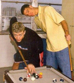 Justin Timberlake and JC Chasez Hintergrund with a poolroom, a billiard room, and a pool tabelle called jc and justin
