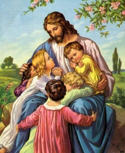 Jesus karatasi la kupamba ukuta with anime entitled jesus with children