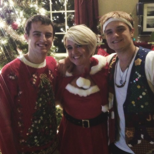 Josh with his mom and brother on Christmas