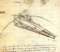 A design for a flying machine by Leonardo (c. 1488)