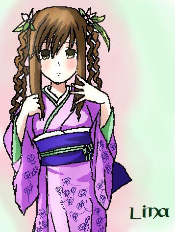 Anime girl chimono, kimono