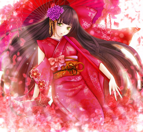 msyugioh123 wallpaper possibly containing a bouquet titled Anime girl kimono