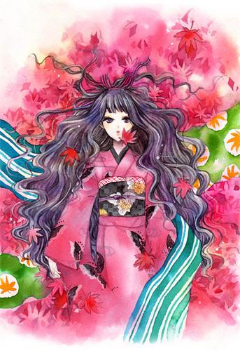 Anime chimono, kimono girl
