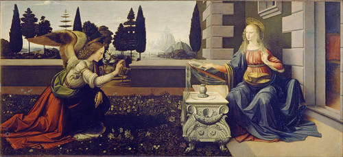 Annunciation (1475–1480)— is thought to be Leonardo's earliest complete work. - michelangelo-vs-leonardo-da-vinci Photo