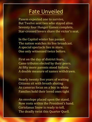 The Hunger Games Movie wallpaper entitled Catching Fire-Inspired Poem