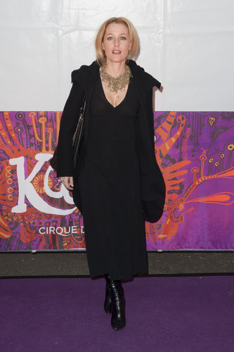 gillian anderson wallpaper containing a well dressed person and a business suit titled Cirque Du Soleil's Kooza opening night in london 2013