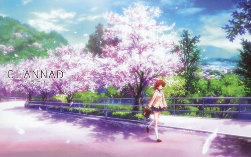 Clannad Hintergrund possibly containing a fountain, a beech, and a fahrbahn called Clannad/Clannad Afterstory Hintergründe