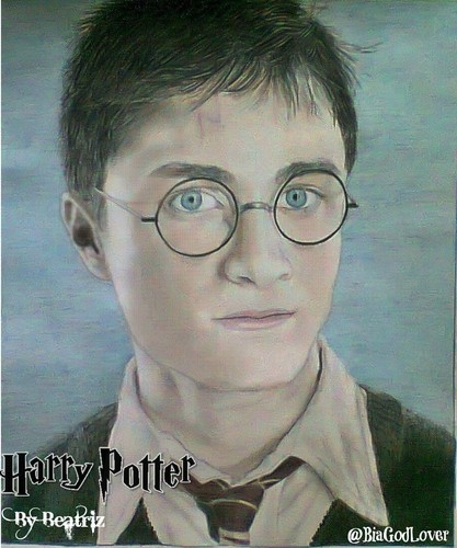 Fanart achtergrond probably containing a portrait called Daniel Radcliffe-Harry Potter Drawing