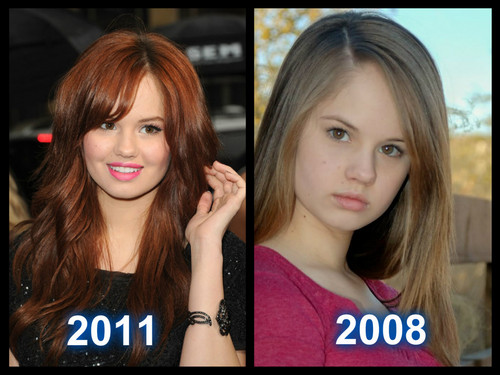 Debby ryan in 2008 and 2011