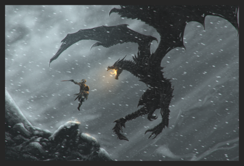 Elder Scrolls V : Skyrim wallpaper entitled DragonBorn vs AlDuin