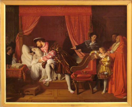 Francis I of France receiving the last breath of Leonardo da Vinci, kwa Ingres, 1818