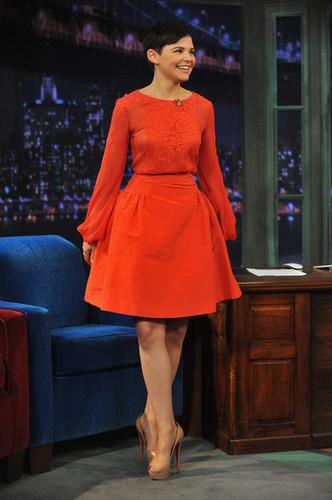 Ginnifer Goodwin appearing on Jimmy Fallon's Late Night show.