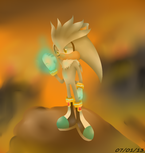 Silver the Hedgehog karatasi la kupamba ukuta titled I have to save the future...