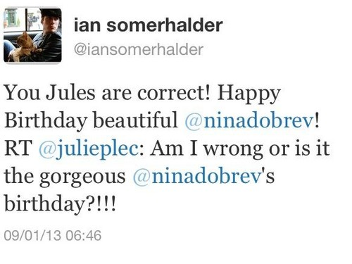 Ian Somerhalder and Nina Dobrev wallpaper titled Ian's twit