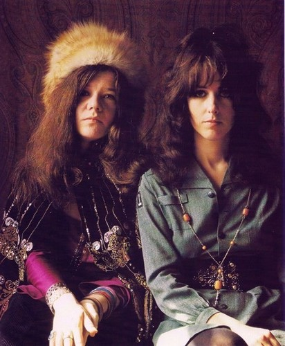 Music wallpaper probably containing a green beret, battle dress, and a box coat entitled Janis Joplin & Grace Slick