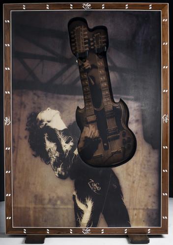 Jimmy Page art piece w/guitar