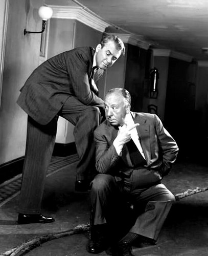 James Stewart wallpaper containing a business suit titled Jimmy Stewart & Alfred Hitchcock