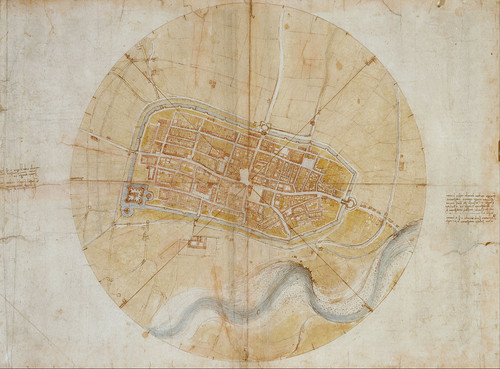 Leonardo da Vinci's very accurate map of Imola, created for Cesare Borgia