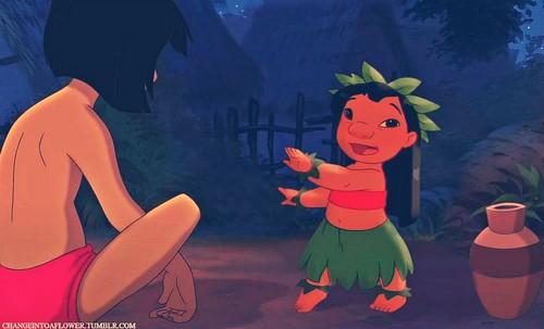 Disney crossover karatasi la kupamba ukuta with anime called Lilo/Mowgli
