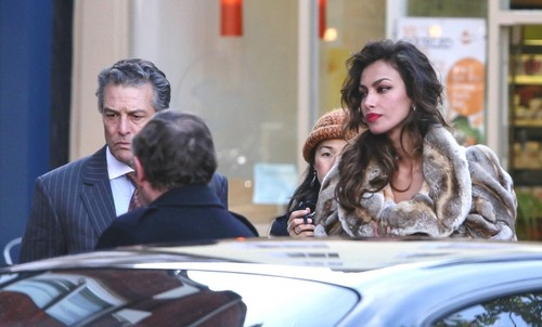 Andreea Matin wallpaper possibly containing a business suit titled Madalina Ghenea filming Dom Hemingway with Jude Law