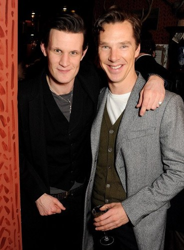 Matt Smith and Benedict Cumberbatch attend the Esquire and Tommy Hilfiger party