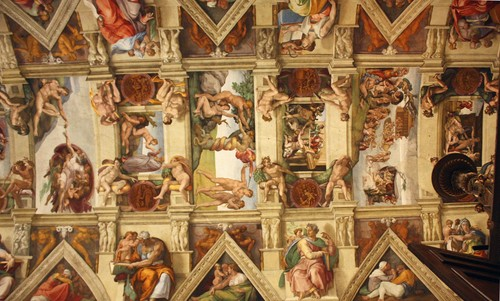 Michelangelo painted the ceiling of the Sistine Chapel (1508–1512)