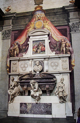 Michelangelo's own tomb in which he was interred in February 1564, at Basilica of Santa Croce