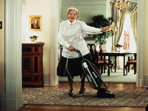 robin williams wallpaper containing a vacuum and a alat pengisap debu, hoover entitled Mrs Doubtfire