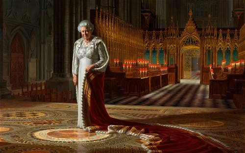 Ratu Elizabeth II kertas dinding titled Official Diamond Jubilee portrait of Queen Elizabeth II