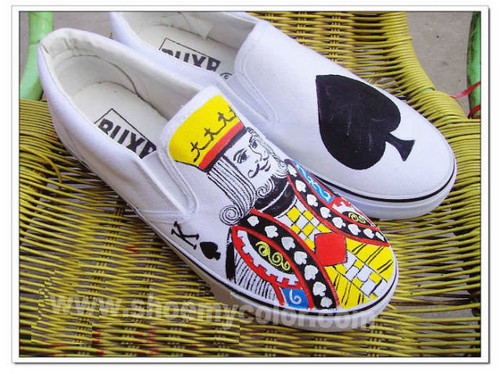 Poker hand painted shoes
