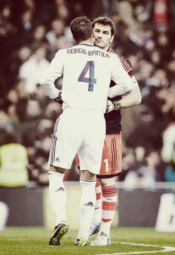 Sergio Ramos wallpaper probably containing a wicket and a lineman titled Sergio Ramos and Iker Casillas