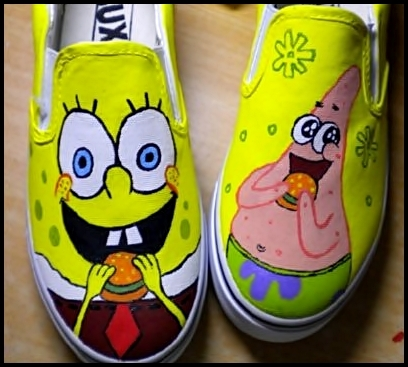 Spongebob slip on canvas shoes