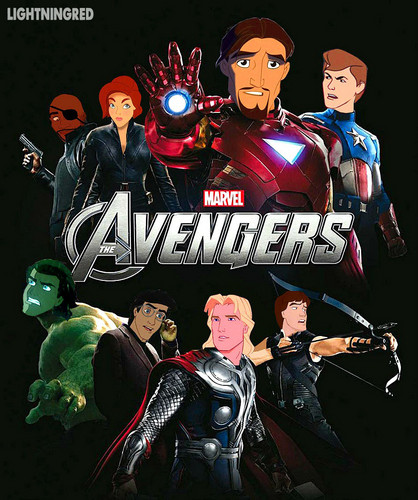 Disney crossover karatasi la kupamba ukuta with anime called The Avengers