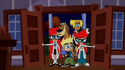 Johnny Test 壁纸 probably containing a family room and 日本动漫 called The Scooby Gang, Test Style