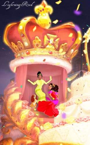 Tiana, Esmeralda, and Lady Are Dancing in a Festival
