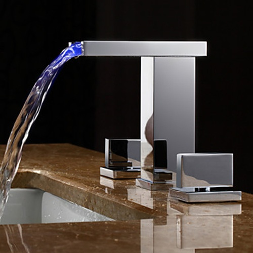 Faucets Images Two Handles Led Hydroelectric Waterfall Sink Faucet Wallpaper And Background