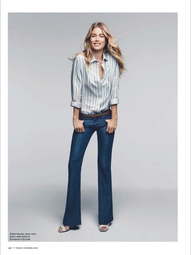 Doutzen Kroes wallpaper containing bellbottom trousers, a pantleg, and long trousers titled Vogue Netherlands December