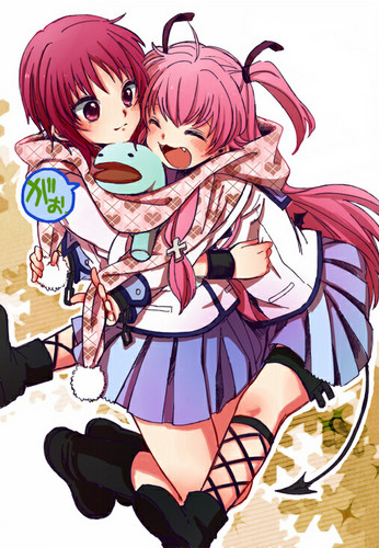 エンジェル Beats! Girls Dead Monster 壁紙 containing アニメ entitled Yui_and_Iwasawa_[angel beats!]