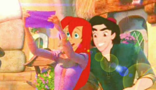 aladdin and ariel as rapunzel and flynn