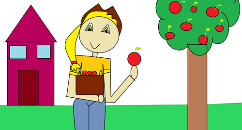 mela, apple jack picking apple's