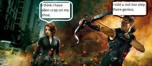 awesomenes *hawkeye* and dum red head *black widow*