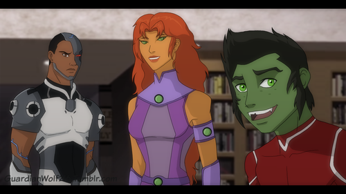 Justiça Jovem wallpaper possibly with animê entitled guardianwolf216: Cyborg and Starfire with Beast Boy